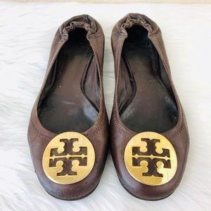 {Tory Burch} Brown Leather/Gold Metal Reva Flats